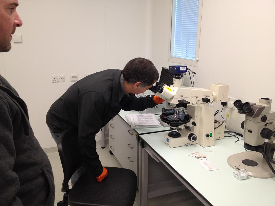 Dave playing with the microscope