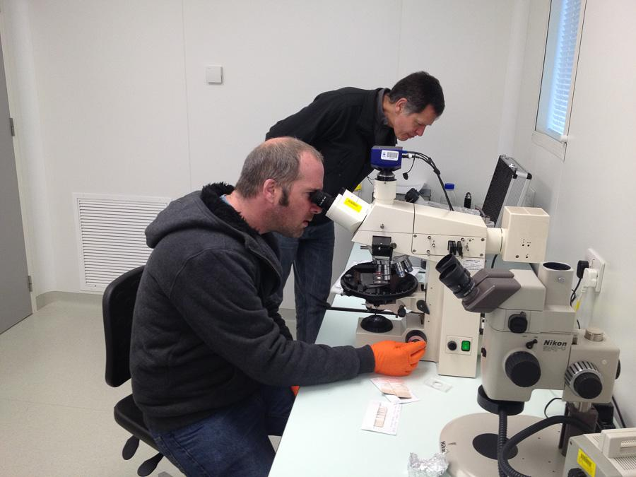 Mike playing with the microscope