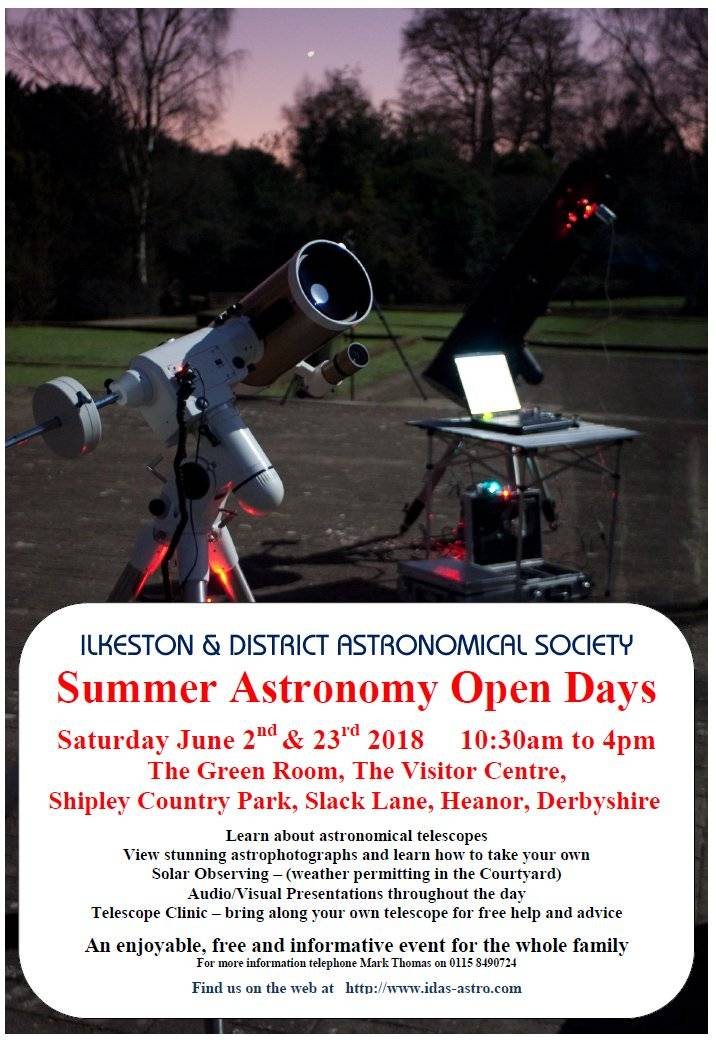 Solar viewing at Shipley Park Saturday the 2nd of June and Saturday the 23rd of June.